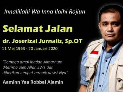 Inisiator RS Indonesia di Gaza, Dr Joserizal Jurnalis Meninggal Dunia