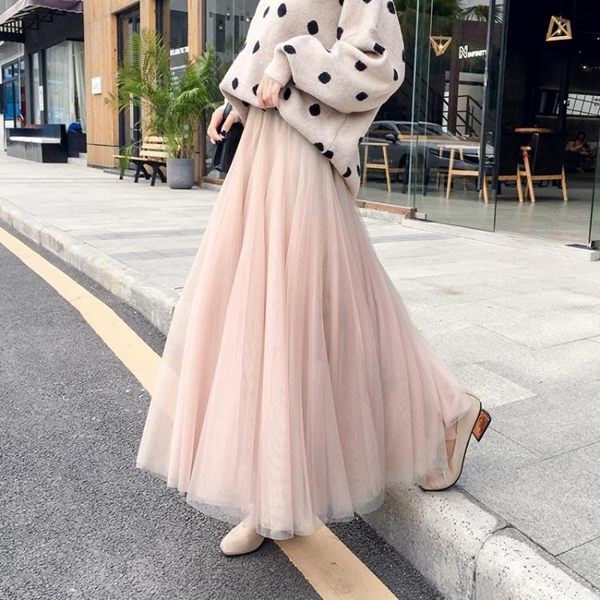 【免運】半身裙中長款 半身裙女新品秋新款沙裙仙女網紗裙黑色ins超火裙子中長款紗裙