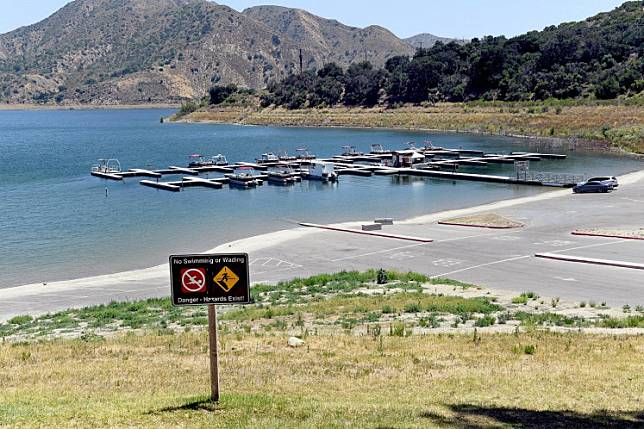 A view of Lake Piru during a press conference held for missing actress Naya Rivera on July 13, 2020 in Piru, California.