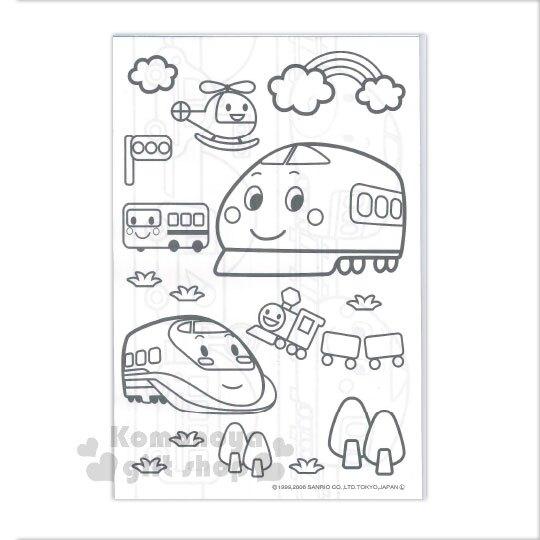 〔小禮堂〕新幹線 日製繪圖本《藍.彩虹.電車》著色本.色紙