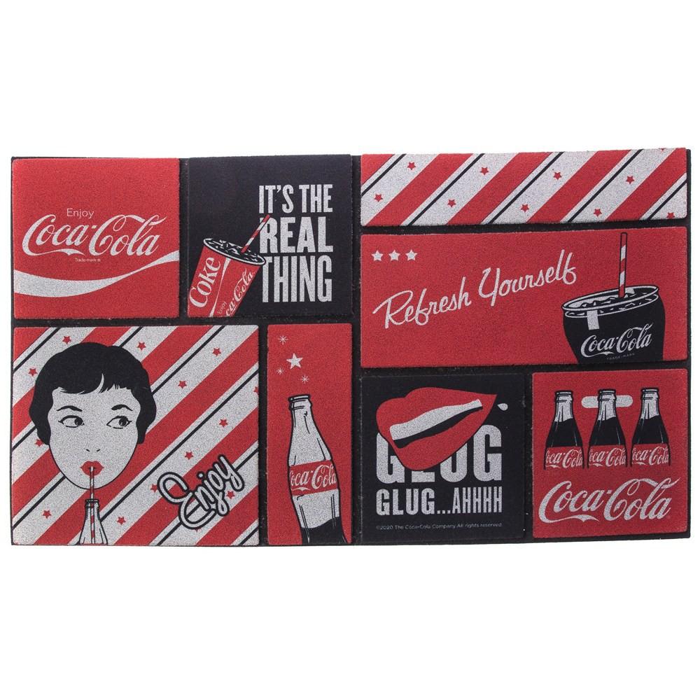 【商品特色】和樂自有品牌產品獨家設計款,經典 Coca-Cola 可口可樂 的 各式品牌LOGO MARK設計 及 各式瓶裝/罐裝/杯裝 風格圖樣,典藏完整一次擁有植絨印花工藝,豐富多彩戶外踏墊底部為