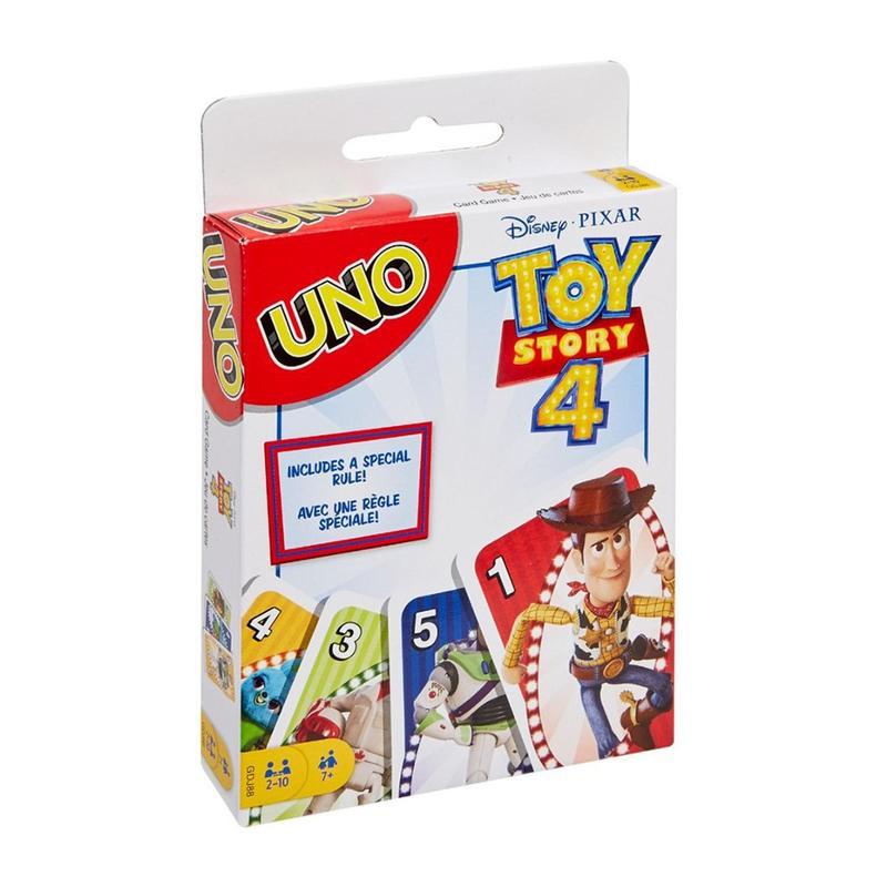 知名動畫電影「玩具總動員4」與經典卡牌遊戲「UNO」合作,聯名出品主題遊戲卡! 本主題遊戲卡加入動畫角色圖像卡牌,以及主題專屬特殊功能卡,讓遊戲提升更多趣味。你需要細心管理自己的手牌,判斷檯面上出現的