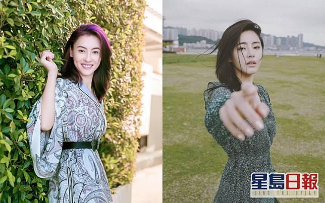 與張栢芝(左)似樣的許雅婷外型甜美,星途燦爛。