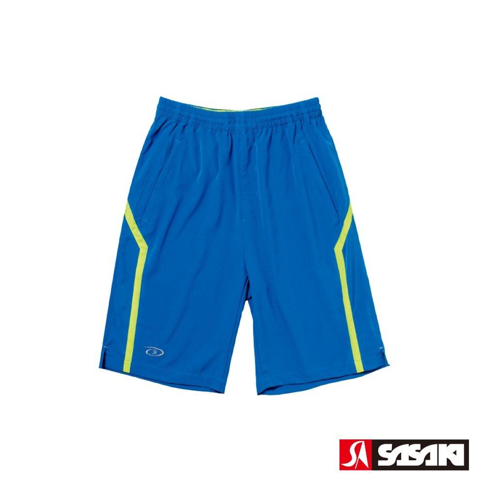 SASAKI 抗紫外線功能四面彈力網球短褲(長版)-男-亮藍/豔黃