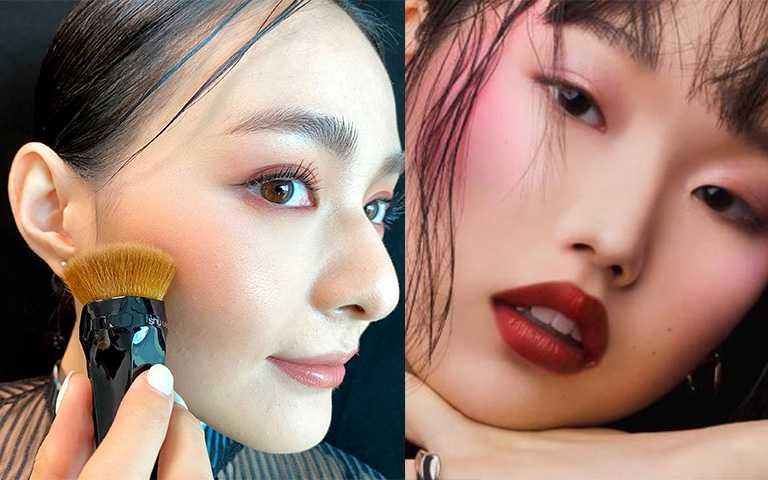 最適合亞洲人的兩種腮紅刷法:水平、垂直,創造澎潤跟立體輪廓各有優勢。(圖/彭靖芸設,植村秀提供)