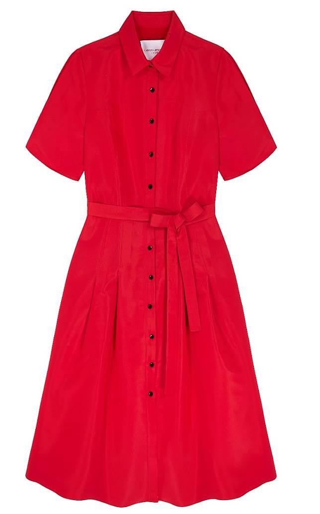 Carolina Herrera紅色束腰絲質連身裙(互聯網)