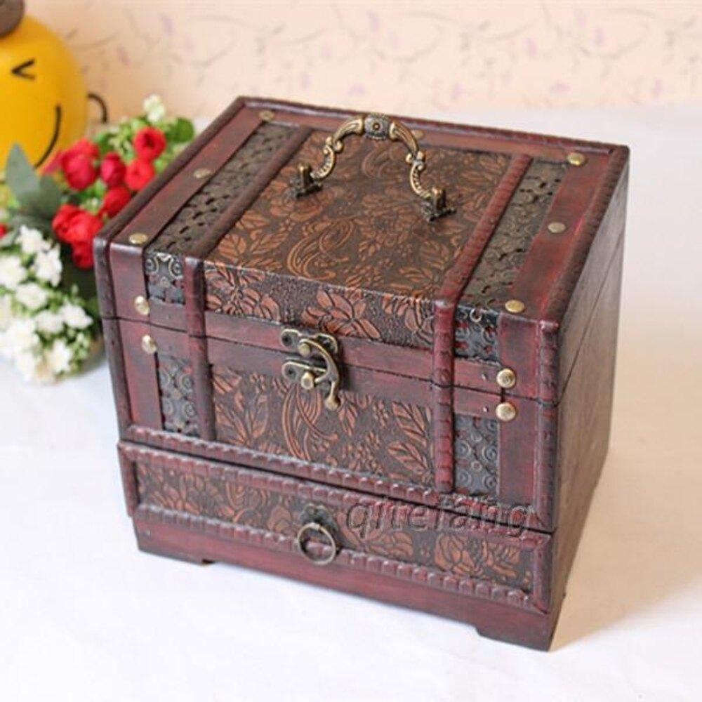 復古木質首飾盒仿古印花木制三層帶鏡古典中式裝飾梳妝化妝盒 享購
