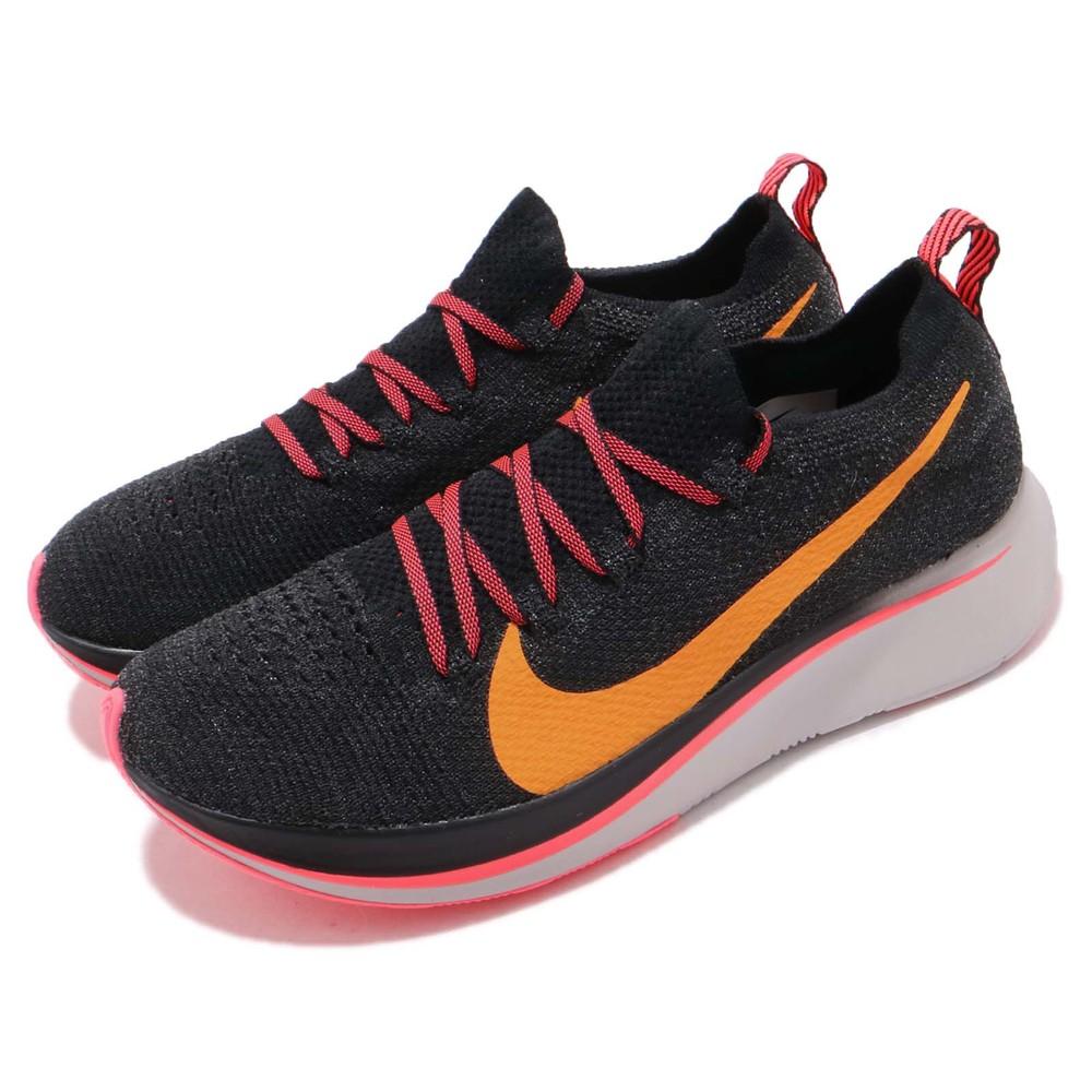 專業慢跑鞋品牌:NIKE型號:AR4562-068品名:Zoom Fly FK配色:黑色,橘色