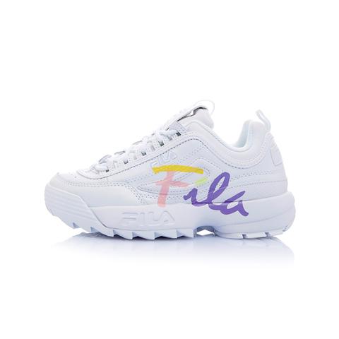 FILA DISRUPTOR2 女草寫復古運動鞋(鋸齒鞋/老爹鞋)-白 / 粉紫 5-C113T-102
