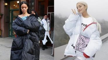 保暖又大氣!蕾哈娜、亞莉安娜都熱愛羽絨外套 教妳如何時尚搭配有大媽印象的單品!