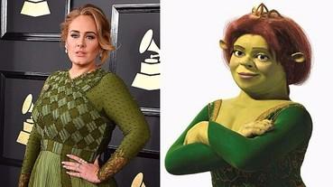 綠色禮服被網友笑是史瑞克「費歐娜公主」 愛黛兒爆氣:我不管啦,那是 Givenchy!