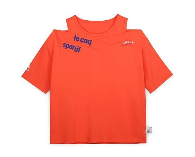 橙紅色露肩短袖Tee(互聯網)