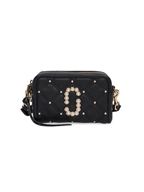 Crafted of rich leather with a ladylike quilted finish, this camera bag is accented with Marc Jacobs' signature double J hardware and luscious beaded embellishment.; Top zip; Exterior back slip pocket; Goldtone hardware; One interior compartment; Two interior card slots; Lined; Leather/polyurethane coating; ImportedSIZE; Adjustable removable crossbody strap, 22