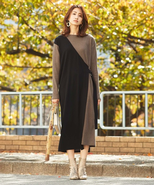 層次感假兩件式異材質拼接連身裙