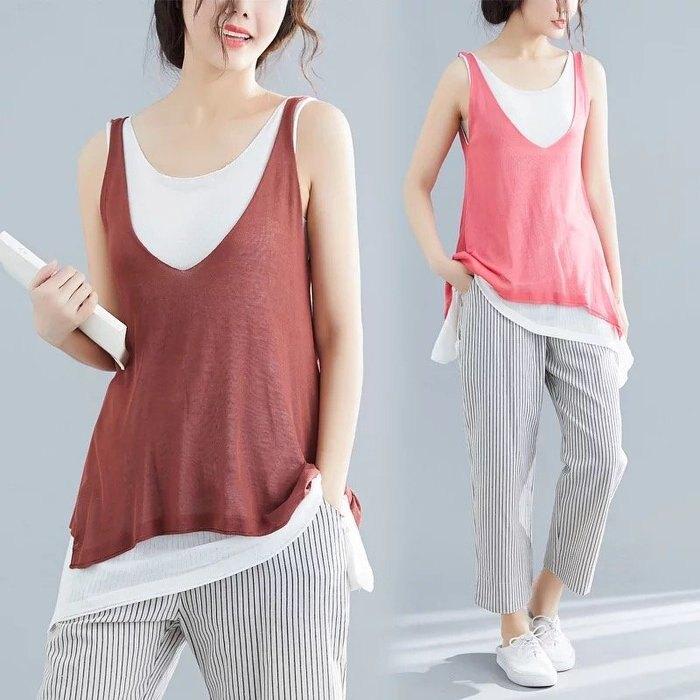 假兩件 背心 針織衫 長版上衣 焦糖色 亮粉色 夏季 無袖吊帶 針織上衣 ~美學達人HS7378