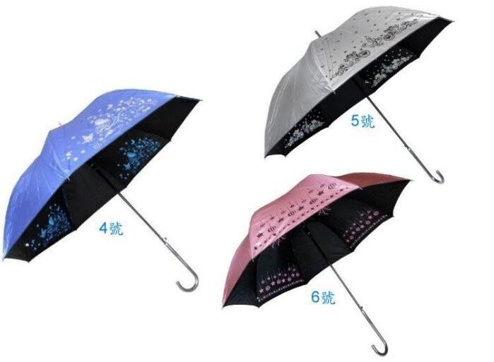 傘外跟傘內都有印圖案.更顯優雅氣質 全遮光色膠布.完全不透光 優點一.傘內是黑色膠傘布.可抗uv遮陽效果非常好 優點二.傘面可翻覆.傘骨不會斷.可防強風 優點三.雙面印刷.傘的內外都有 優點四.超輕材