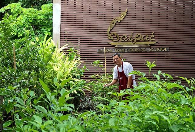 創辦人Khun Eak出生飲食世家,烹飪學校的花園以有機方式種植了不少常用香料及香草。(單身旅子攝)