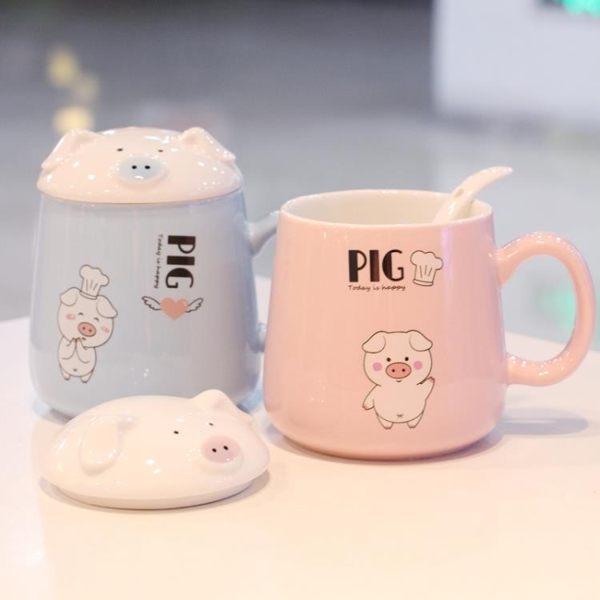 創意超萌馬克杯大容量杯子陶瓷咖啡帶杯蓋勺韓版女學生喝水杯家用