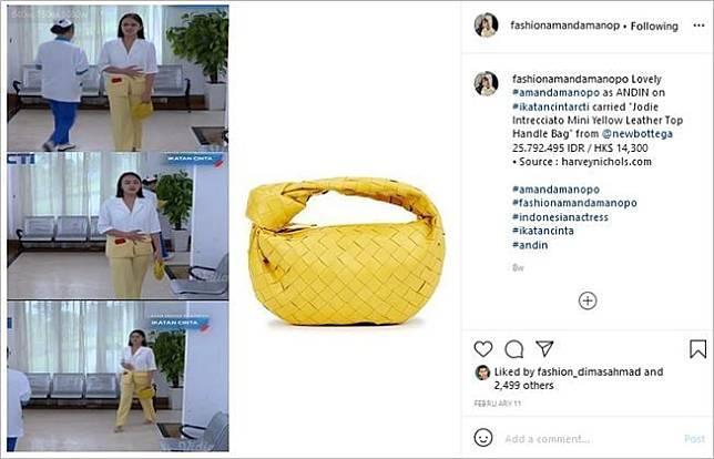 Artis pakai tas mahal mirip anyaman. (Instagram/@fashionamandamanopo)