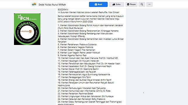 Beredar bocoran susunan kabinet setelah reshuffle terdapat nama Ahok jadi Menteri BUMN, benarkah?