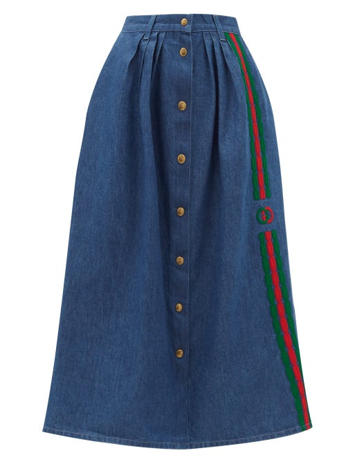 Gucci - Gucci's iconic green and red Web stripe is reworked in an embroidered braid framing the hous
