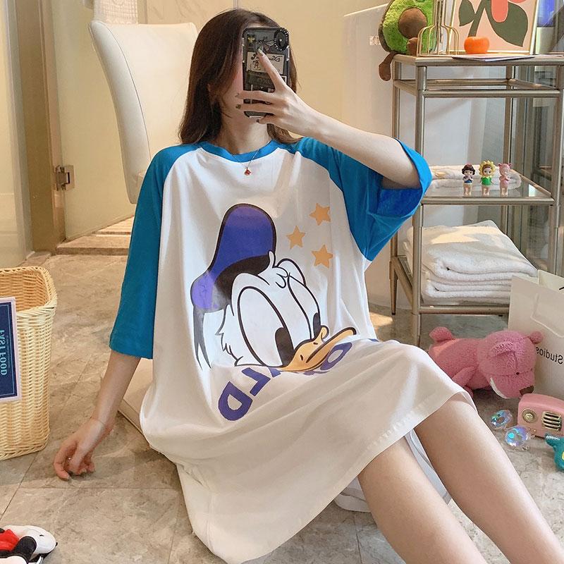 睡裙女夏季純棉短袖寬鬆版大碼卡通史努比甜美ins睡衣套裝家居服