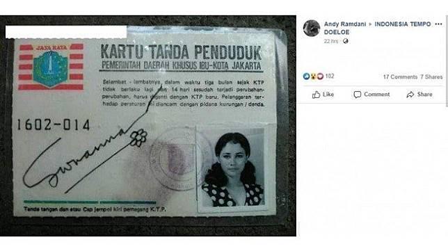 Heboh KTP Suzanna.  (Facebook/ Andy Ramdani)