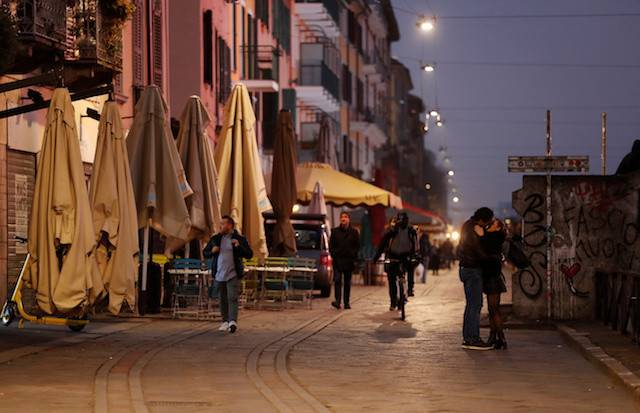 Closed bars and pubs are seen in the Naviglio area of Milan, as the country is hit by the coronavirus outbreak, Italy on Feb. 25, 2020. The virus has reached Germany after a man living in the southern German state of Baden-Wuerttemberg tested positive for the coronavirus on Tuesday after a trip to Milan.