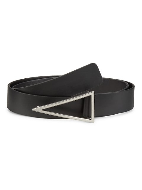 Smooth leather belt with a triangular polished silvertone buckle.; Silvertone hardware; Leather; Mad