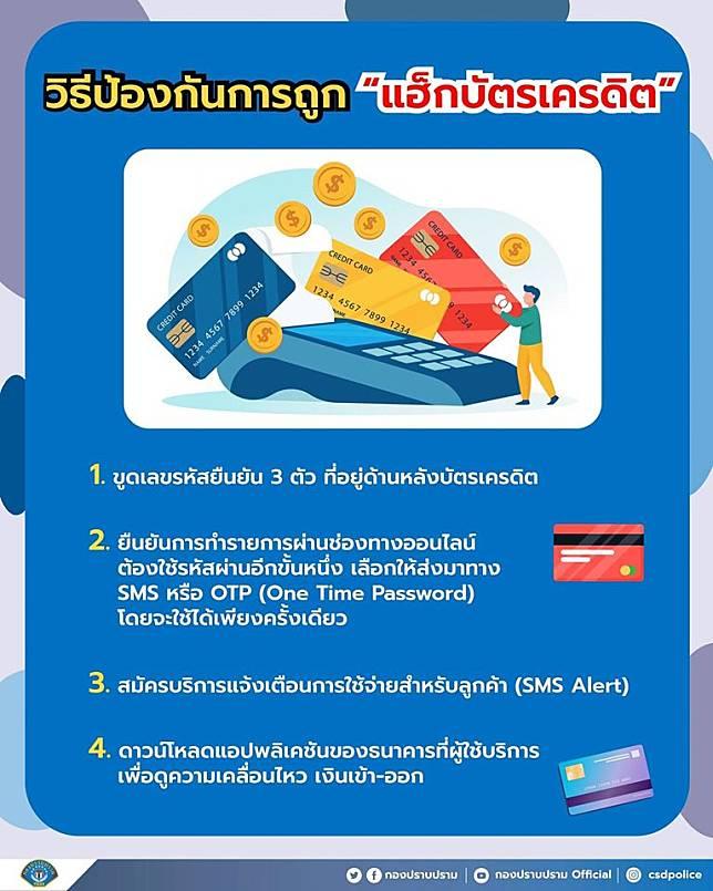 กองปราบฯ แนะวิธีป้องกันการถูกแฮ็กบัตรเครดิต