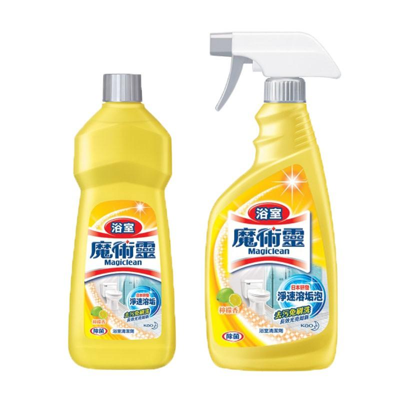 花王 魔術靈 浴室清潔劑-檸檬香 500ml (噴槍瓶+經濟瓶)/組 500ml (噴槍瓶+經濟瓶)/組 1、避免接觸眼睛,以免造成眼睛刺激。若刺激產生,請以大量清水沖洗即可,若不適感持續,請盡速就醫