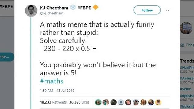 Soal matematika. [Twitter]