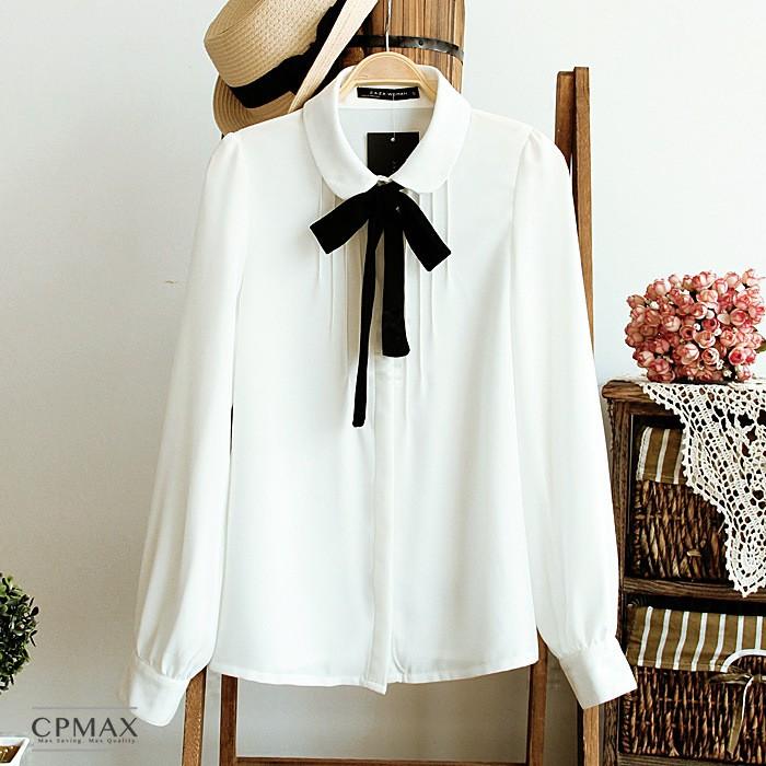CPMAX 雪紡襯衫 韓版雪紡襯衫 長袖襯衫 白襯衫 春夏襯衫 上班襯衫 面試襯衫 雪紡上衣 【W11】