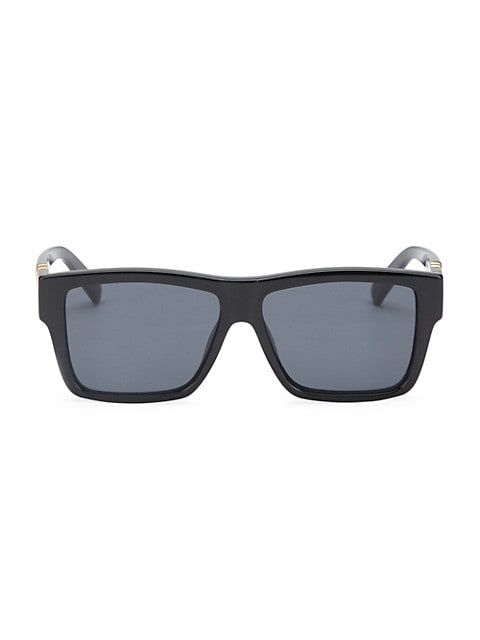 Golden arm detail refines tonal black sunglasses; 56mm lens width; 13mm bridge width; 145mm temple l