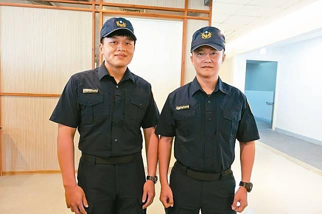 高市保安大隊特勤中隊員警余和謙(右)及施建安(左),均破格晉升小隊長。