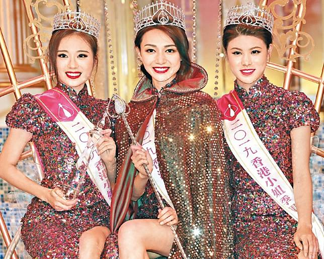 2019年港姐三甲王菲(左起)、 黃嘉雯及古佩玲銜頭用足兩年。