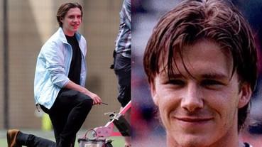 布魯克林秀出瀟灑新髮型 留起老爸貝克漢當年的頭髮來踢足球!