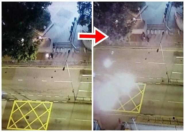 3名黑衣人向葵涌警署投擲汽油彈。