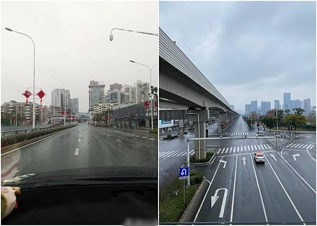 武漢自封城後街道冷清。