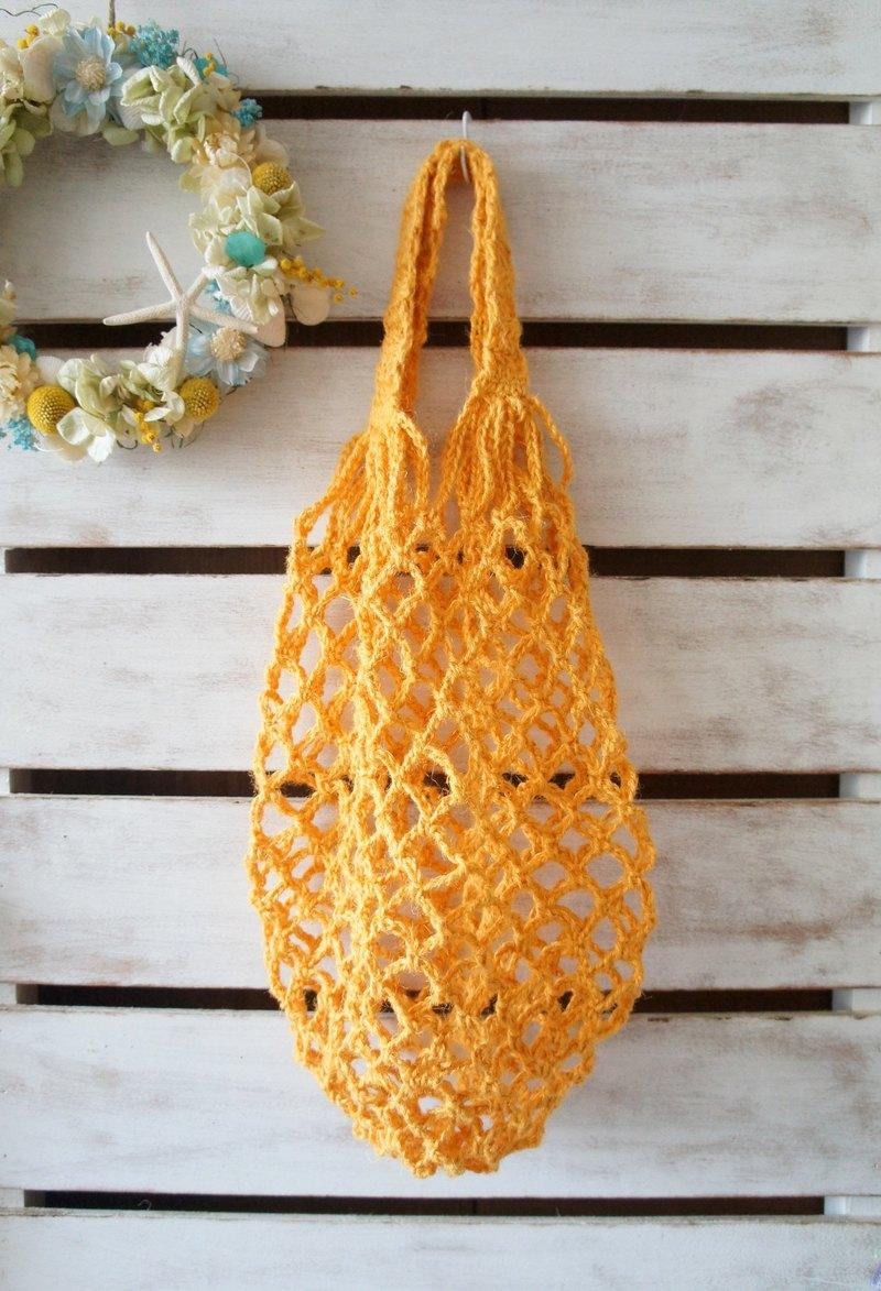 手工麻線編織環保生活根莖類、水果收納袋/購物袋~
