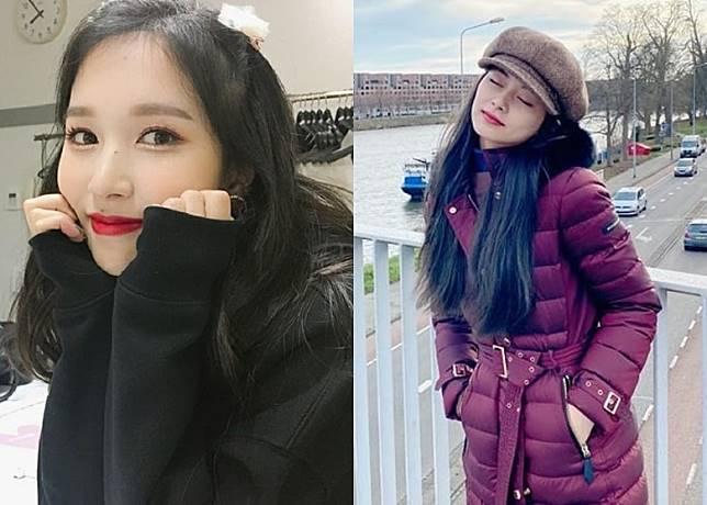 將於下月初歸隊的Mina(左)晒自拍同粉絲拜年。