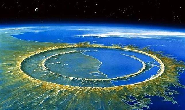 Chicxulub, Meskiko, adalah tapak raksasa selebar 180 km akibat hantaman metorit berukuran 10 km. (orangesmile.com)