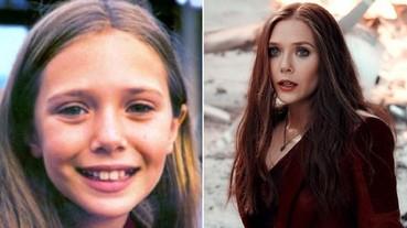 〔復仇者聯盟〕緋紅女巫從小就是美人臉!《復仇者聯盟 3》演員兒時照片對比 小鋼鐵人可愛到不行!