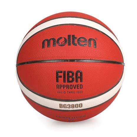 【MOLTEN】#7合成皮 12片貼籃球-7號球 附球針 球網袋 橘米白F