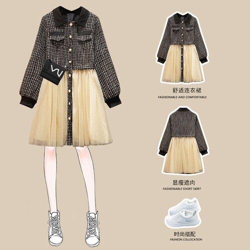 SaSa 韓國風寬鬆長袖假兩件遮肚顯瘦大碼長袖洋裝