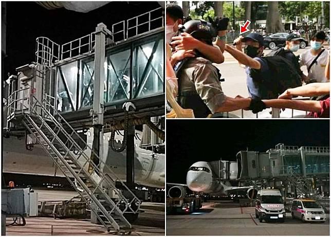 警員在機場拘捕涉以利器(箭嘴示)傷警男子。