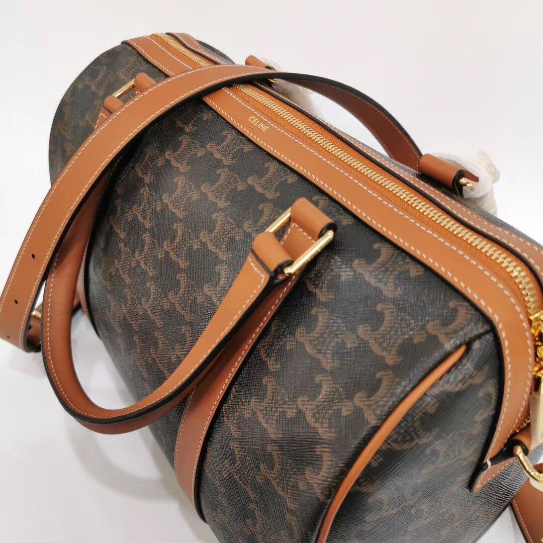 【Chiu189英歐代購】CELINE TRIOMPHE 波士頓包 LOGO印花 手提包 肩背包 帆布手袋 旅行袋