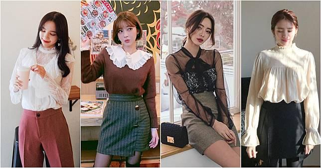 มาแน่!! เสื้อคอปกแขนมีระบาย เสื้อลูกไม้ เทรนด์ฮิตล่าสุดของสาวเกาหลี
