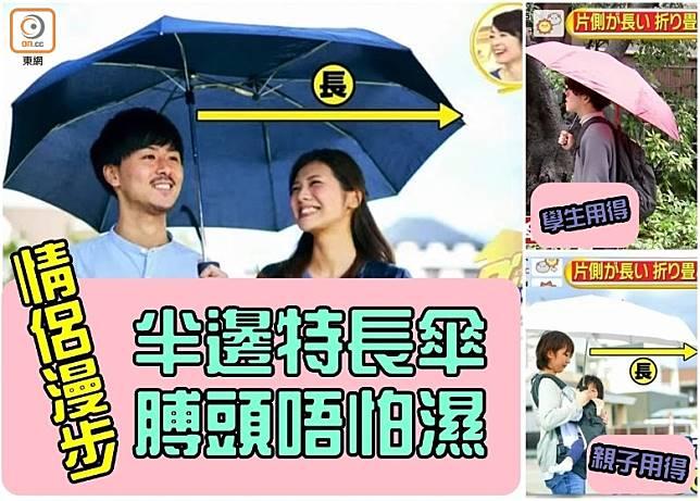 有了半邊特長傘,男生為女生膊頭濕透的感動,恐怕沒戲唱了。(互聯網)