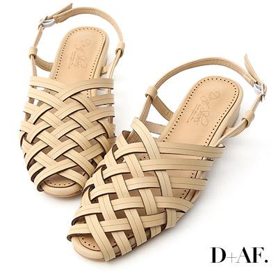 D+AF 古著韓風.多層次交叉低跟編織涼鞋*杏